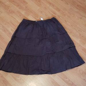 NWT brown cotton tiered skirt plus size 20W